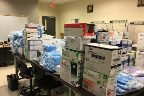 Hundreds of supplies are getting pulled together to prepare for donation. The college's PharmacyTechnology program alone gathered approximately:● 2000+ pairs of gloves● 8 cases of shoe covers● 4 cases of hair covers● 500 gowns● 100s of masks