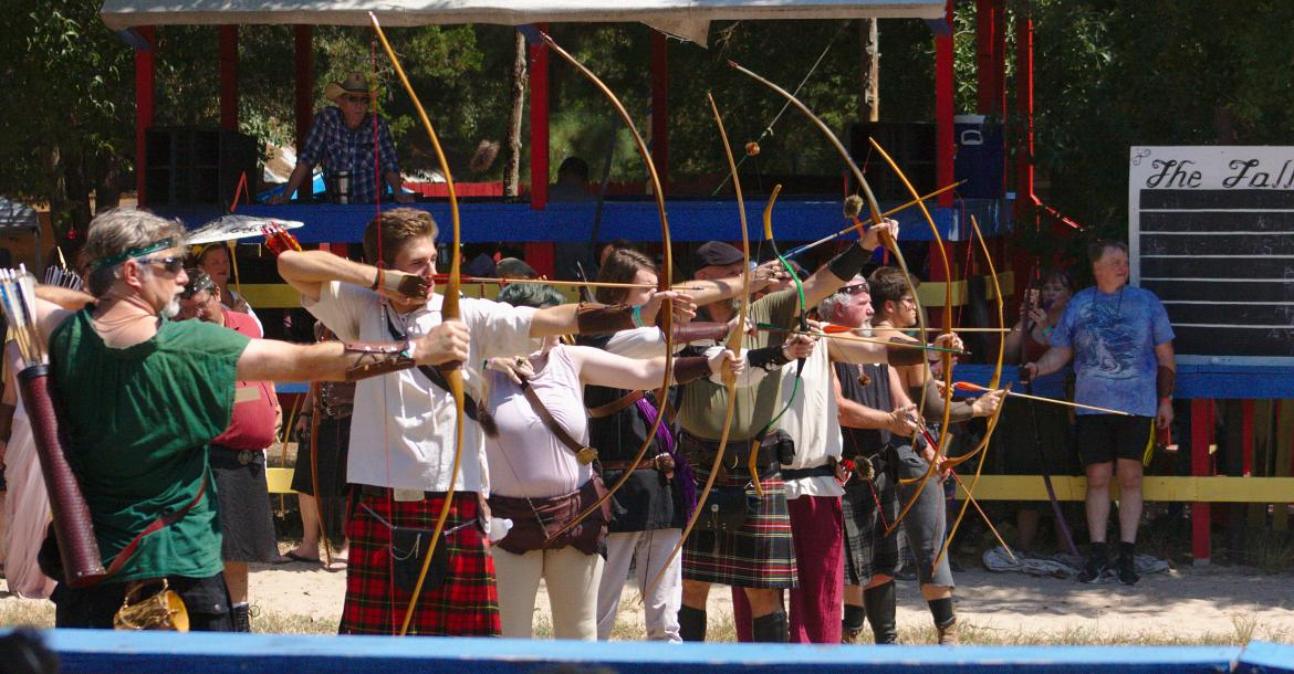 Archers competed in two different archery tournaments throughout the day on Saturday; this tournament utilized traditional bows.
